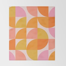 Mid Century Mod Geometry in Pink and Orange Throw Blanket