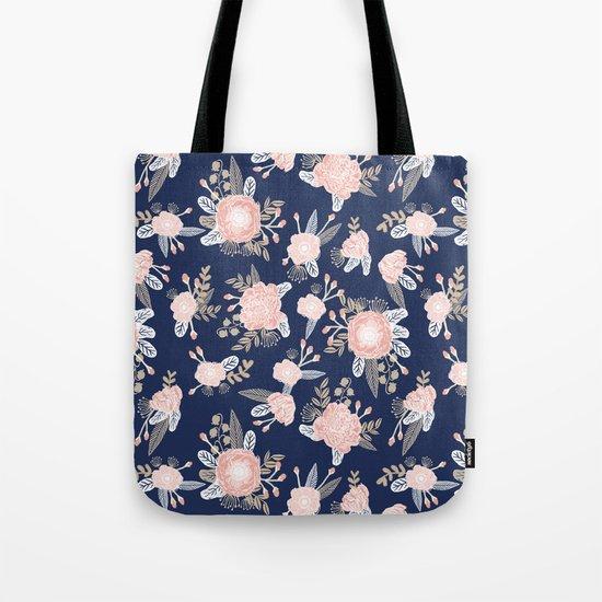 Floral bouquet pastel navy pink florals painted painted metallic pattern basic minimal pattern print Tote Bag