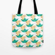 Pea Green boat Pattern Tote Bag