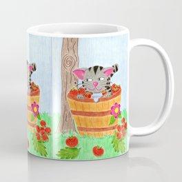 Tabby cat in an apple basket Coffee Mug