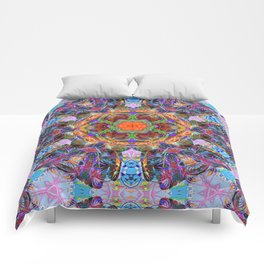 Mandala with colorful collage Comforters