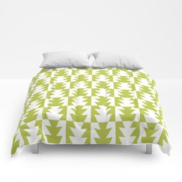 Art Deco Jagged Edge Pattern Chartreuse Comforters