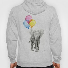 Baby Elephant with Balloons Nursery Animals Prints Whimsical Animal Hoody