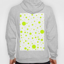 Mixed Polka Dots - Fluorescent Yellow on White Hoody