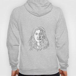 Norse Goddess Hel Face Front Drawing Black and White Hoody