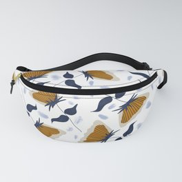 Gold and White Flowers with Blue Fanny Pack