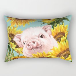 Baby Pig with Sunflowers in Blue Rectangular Pillow