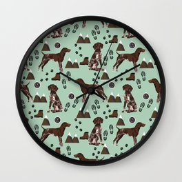 German Shorthair Pointer mountain hiking hiker outdoors camping dog breed Wall Clock
