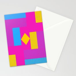 Pansexual Pride Squares and Diamond Design Stationery Cards