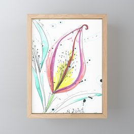 Ink and color flower Framed Mini Art Print
