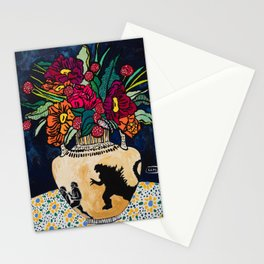 Godzilla Greek Urn with Peony Bouquet Winter Floral Still Life Painting Stationery Cards