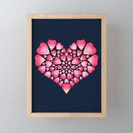 I Heart You Petal, Pink on Navy Framed Mini Art Print
