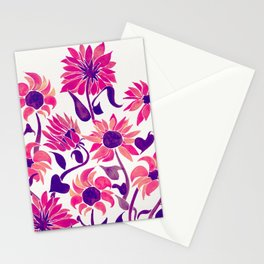 Sunflower Watercolor – Pink & Purple Palette Stationery Cards