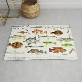 Illustrated Colorful Southern Pacific Exotic Game Fish Identification Chart No. 2 Rug