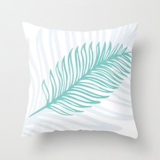 Palm Leaf in Blue and Green Throw Pillow