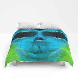 psychedelic skull art geometric triangle abstract pattern in blue and green Comforters