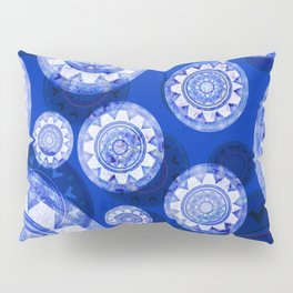 Deepest Blue Floating Vintage Boho Mandala Print Pillow Sham