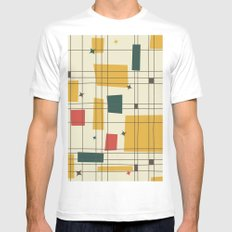Mid-Century Modern (gold) Mens Fitted Tee White MEDIUM
