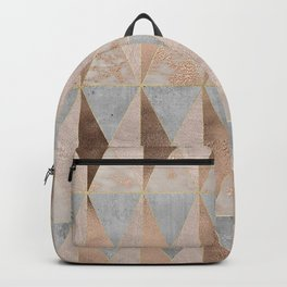 Copper Foil and Blush Rose Gold Marble Triangles Argyle Backpack