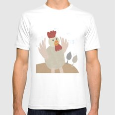 rooster collage Mens Fitted Tee MEDIUM White
