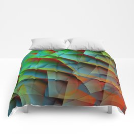 Abstract bright pattern of green and overlapping blue triangles and irregularly shaped lines. Comforters