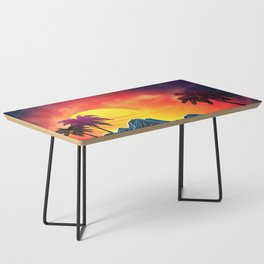 Sunset Vaporwave landscape with rocks and palms Coffee Table