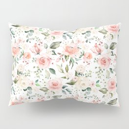 Sunny Floral Pastel Pink Watercolor Flower Pattern Pillow Sham