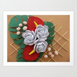 Anthurium Rose Flowers Paper Quilling Art Print