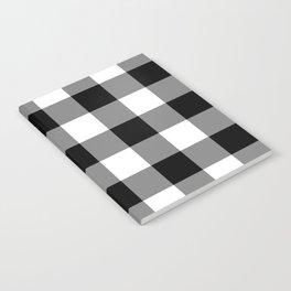 Black and White Buffalo Plaid Notebook