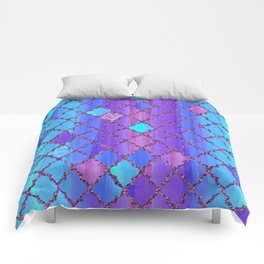 Moroccan Tile Pattern In Purple And Aqua Blue Comforters