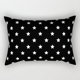 Black Background With White Stars Pattern Rectangular Pillow