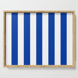 Royal azure - solid color - white vertical lines pattern Serving Tray