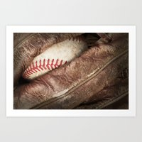 baseball Art Prints featuring Baseball by J Pulley Photography