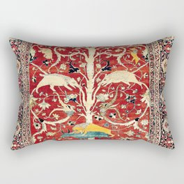 Silk Heriz Azerbaijan Northwest Persian Rug Print Rectangular Pillow