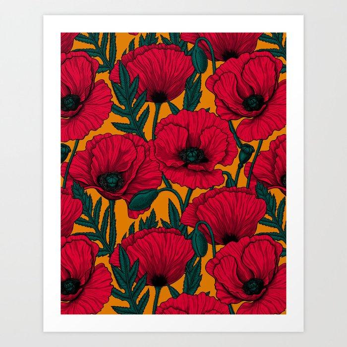 Red poppy garden Art Print