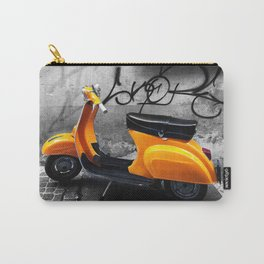 Orange Vespa in Bologna Black and White Photography Carry-All Pouch