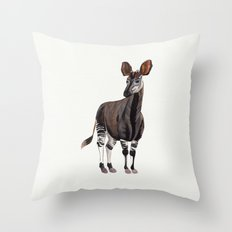 Watercolour Okapi Drawing Throw Pillow