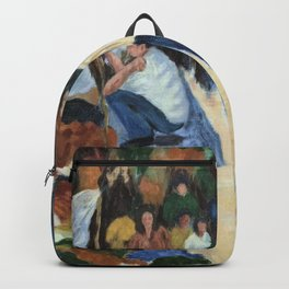 Indian Clothes Bazaar - Oil on Painting Backpack
