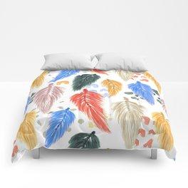 Watercolor Macrame Feathers + Dots in Earthtone Rainbow Comforters
