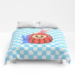 Embracing the Daruma (with blue little windows) Comforters