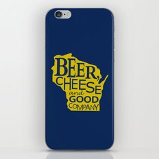 Blue and Gold Beer, Cheese and Good Company Wisconsin Graphic iPhone & iPod Skin