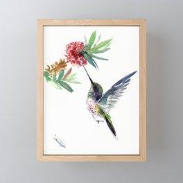 Hummingbird. elegant bird and flowers, minimalist bird art beautiful bird painting Framed Mini Art Print