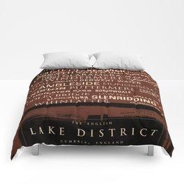 English Lake District Typographic Print (Red) Comforters
