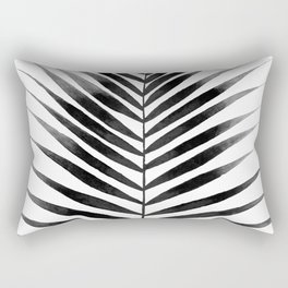 Palm Leaf Watercolor | Black and White Rectangular Pillow