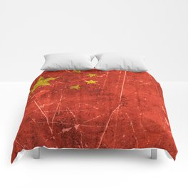 Vintage Aged and Scratched Chinese Flag Comforters