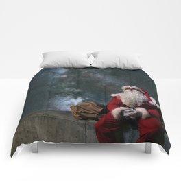 Santa Claus with sack. Magic Christmas Lights. Comforters