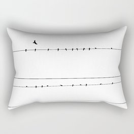 The Birds on the Line (Black and White) Rectangular Pillow