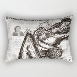 Brave - Charcoal on Newspaper Figure Drawing Rectangular Pillow