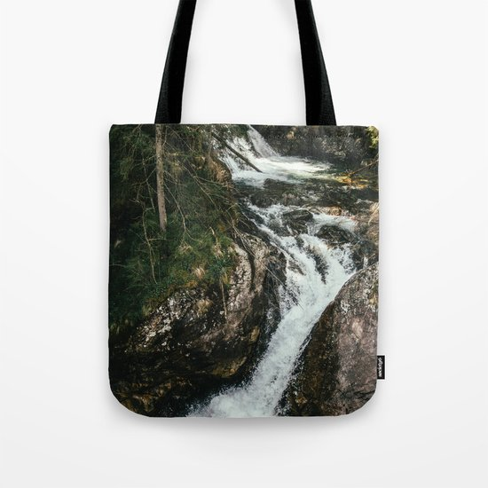Waterfall In The Mountains Tote Bag