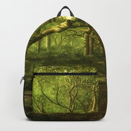 Fantasy Forest Painting Green Wood Backpack